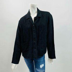 Flax Black Long Sleeve Linen Lagenlook Jacket